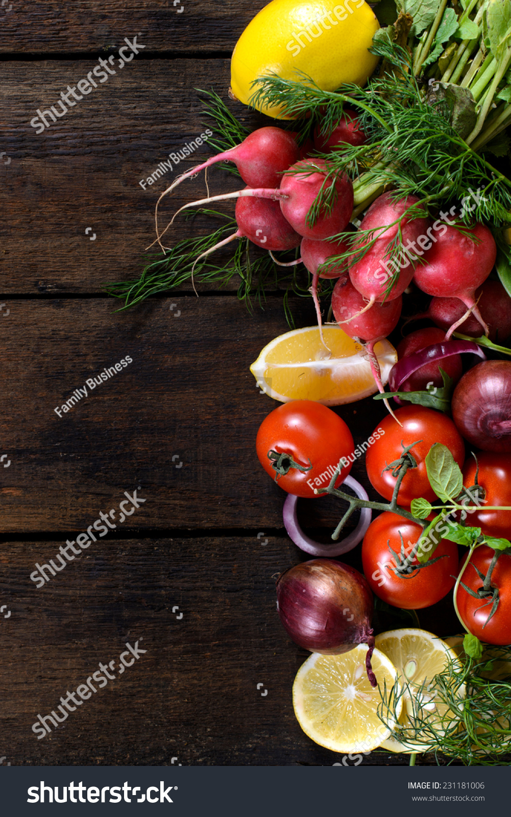 Large Group Of Vegetables And Fruit On The Wooden ...