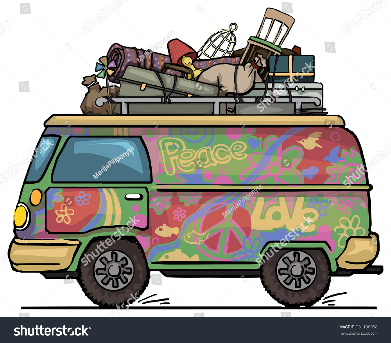 Classic Vintage Hippie Van Bus Painted Stock Vector