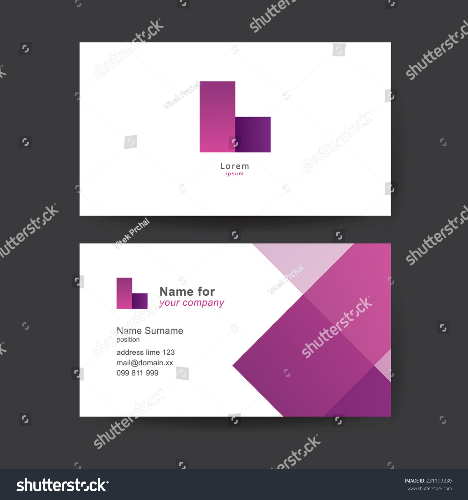Vector Business Card Template Abstract Geometric Stock Vector