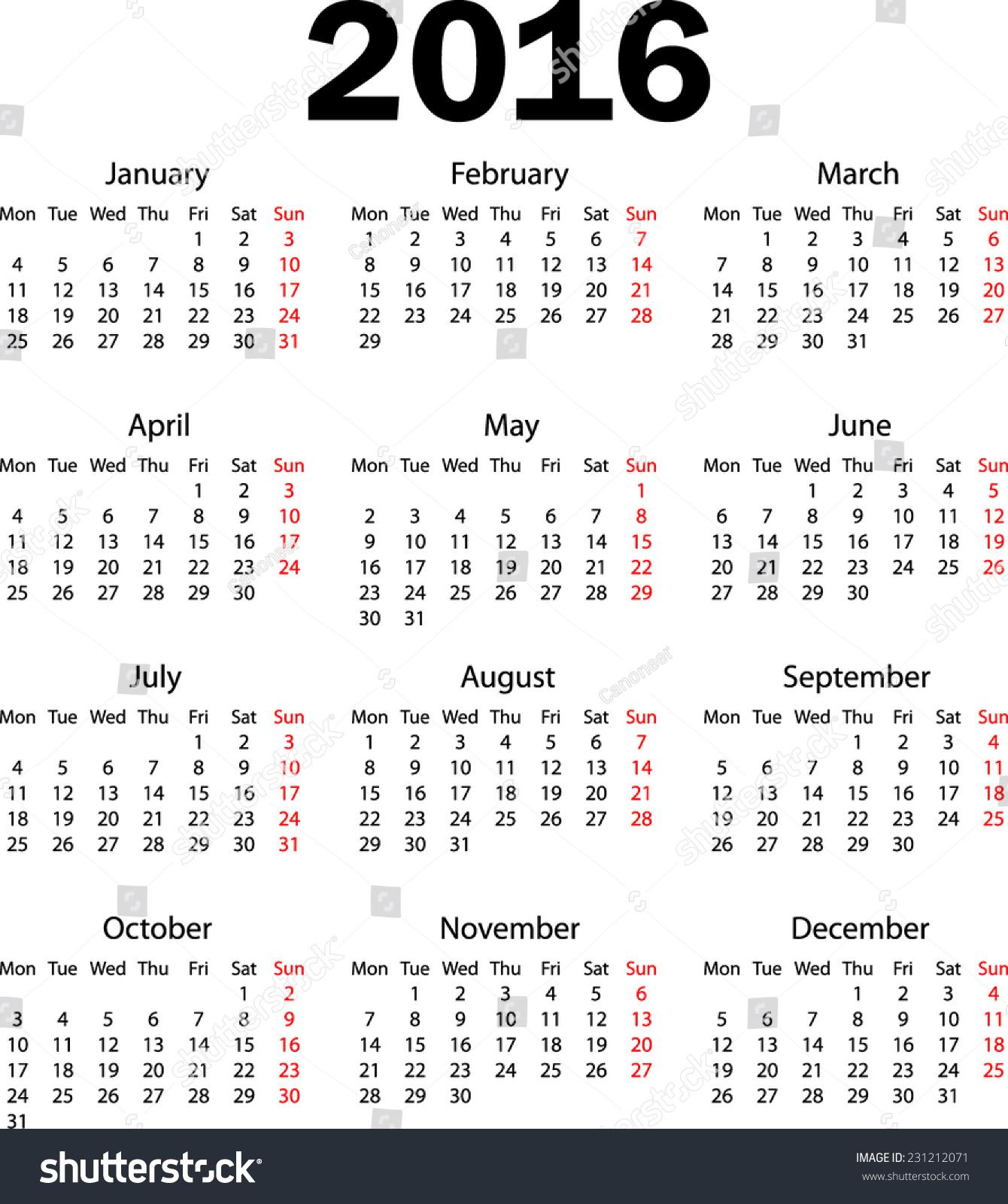 Calendar Monday Start : Calendar starting monday stock vector