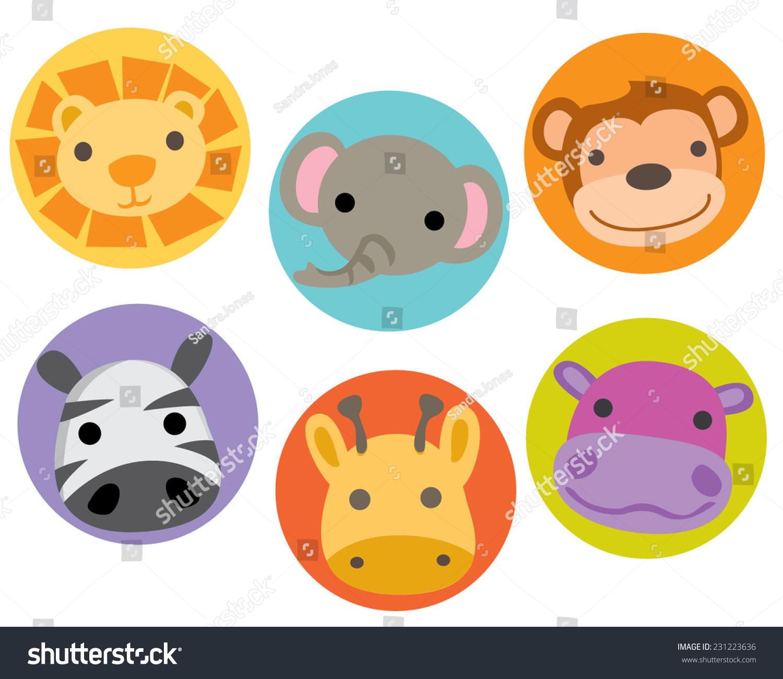 Safari Jungle Zoo Animal Characters Faces Stock Vector 231223636 ...