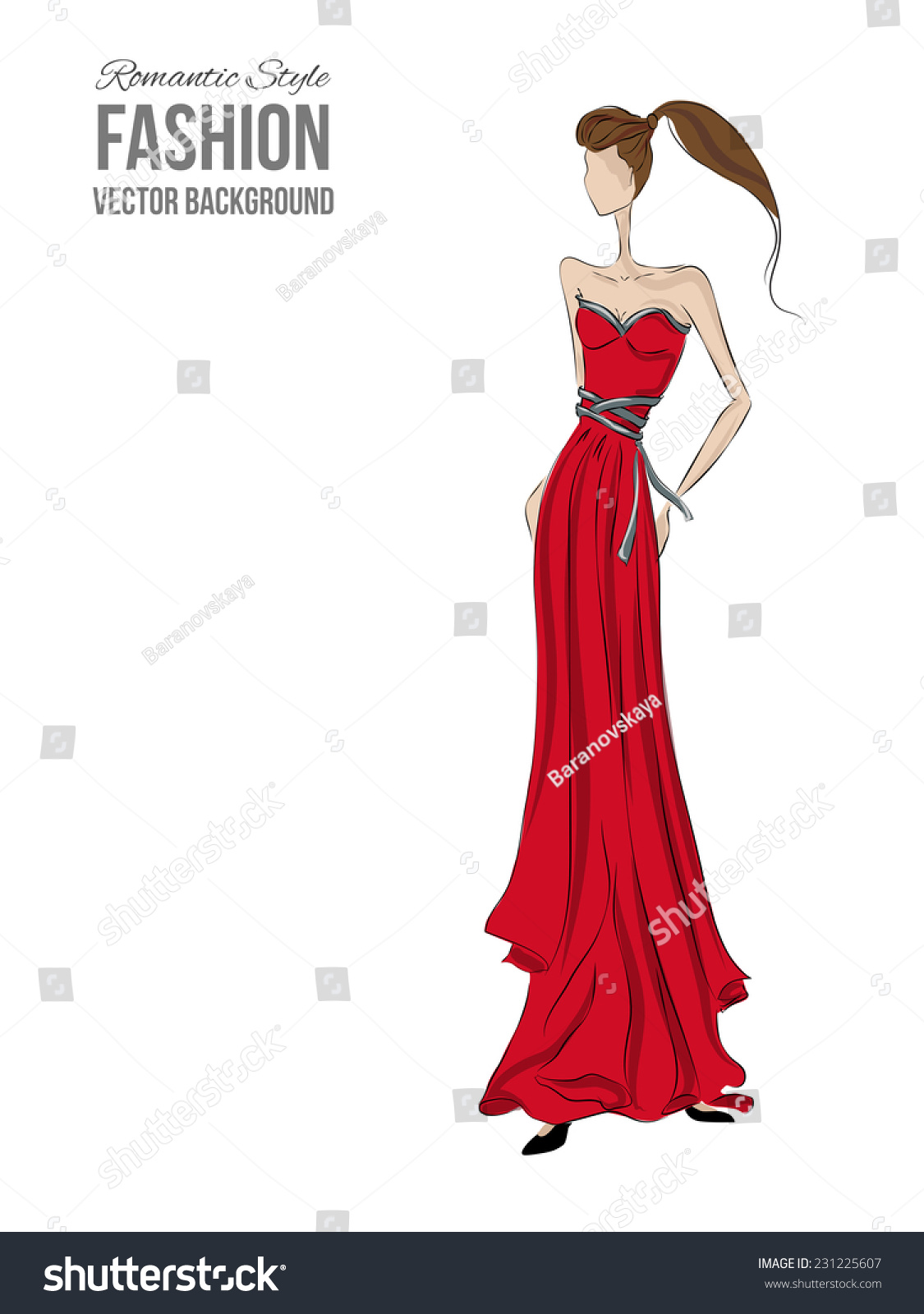 fashion model sketch silhouette vector draw stock vector