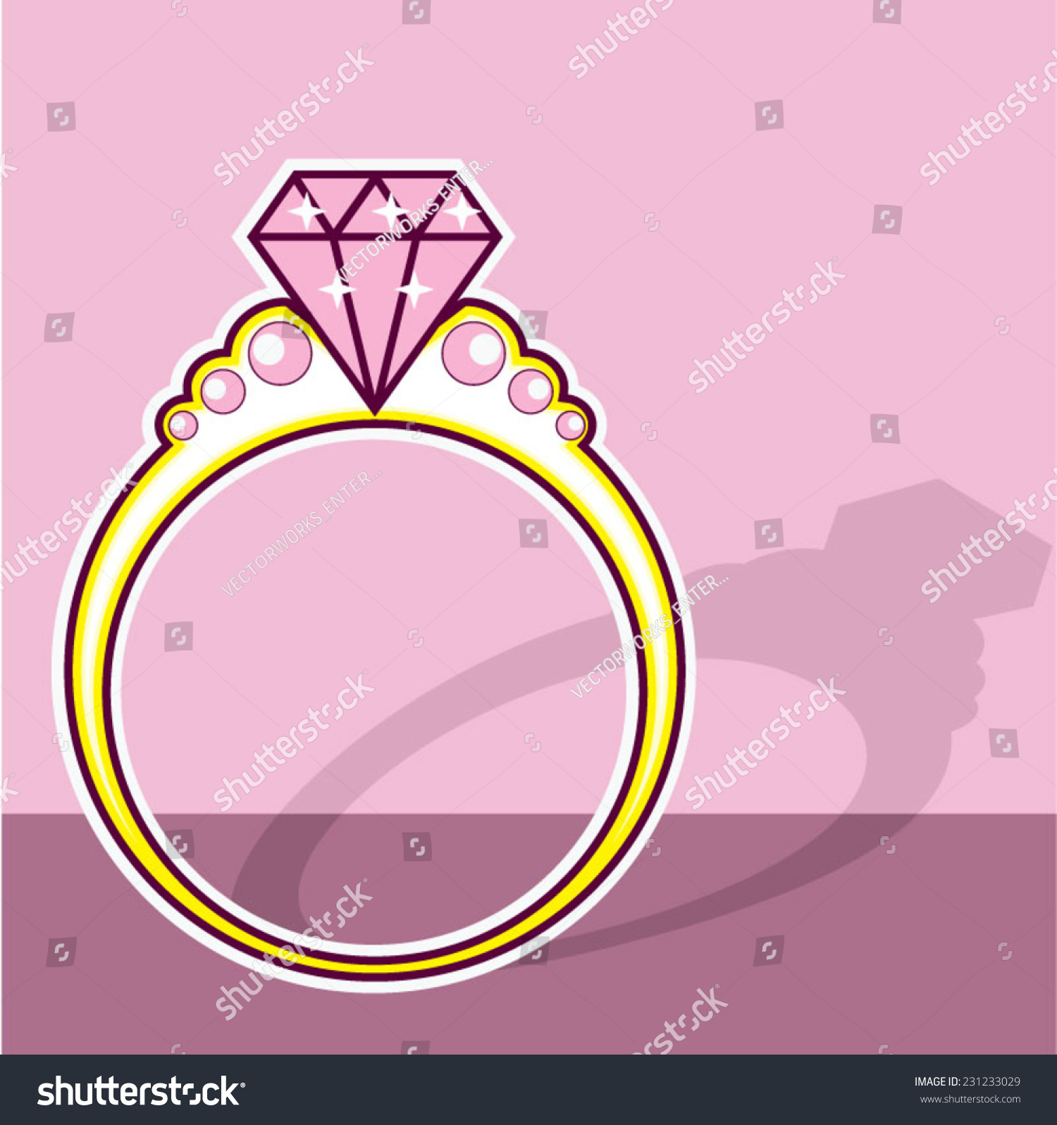 Pink Diamond Ring Stock Vector (2018) 231233029 - Shutterstock