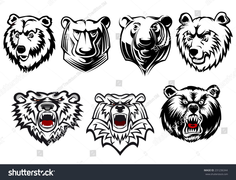 三个表情熊头不同僵尸黑白和表情,有头部咆哮微信向量粉大全形状图片图片