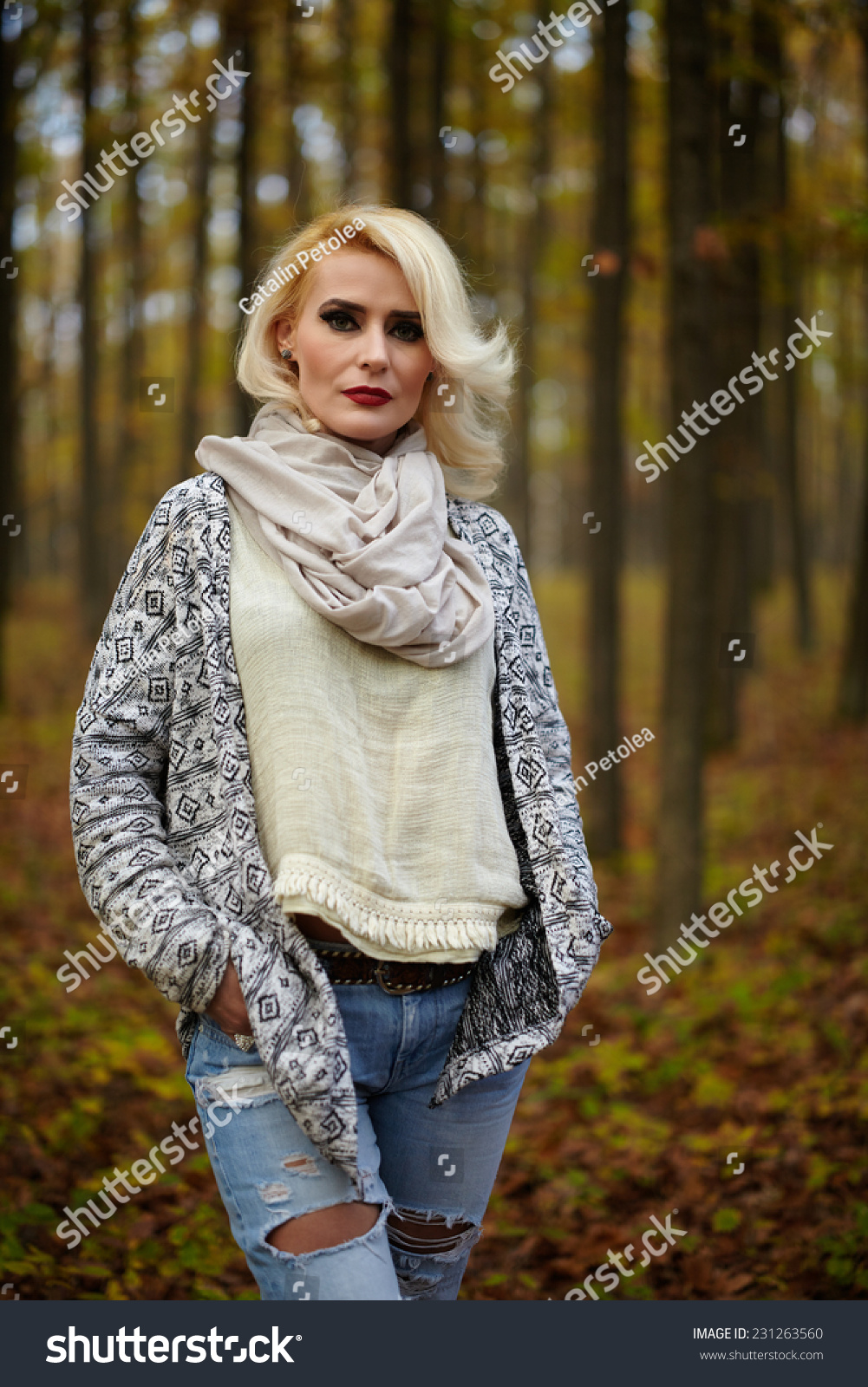 305107fa5f9a Blonde Mature Caucasian Woman Outdoor Forest Stock Photo (Edit Now ...
