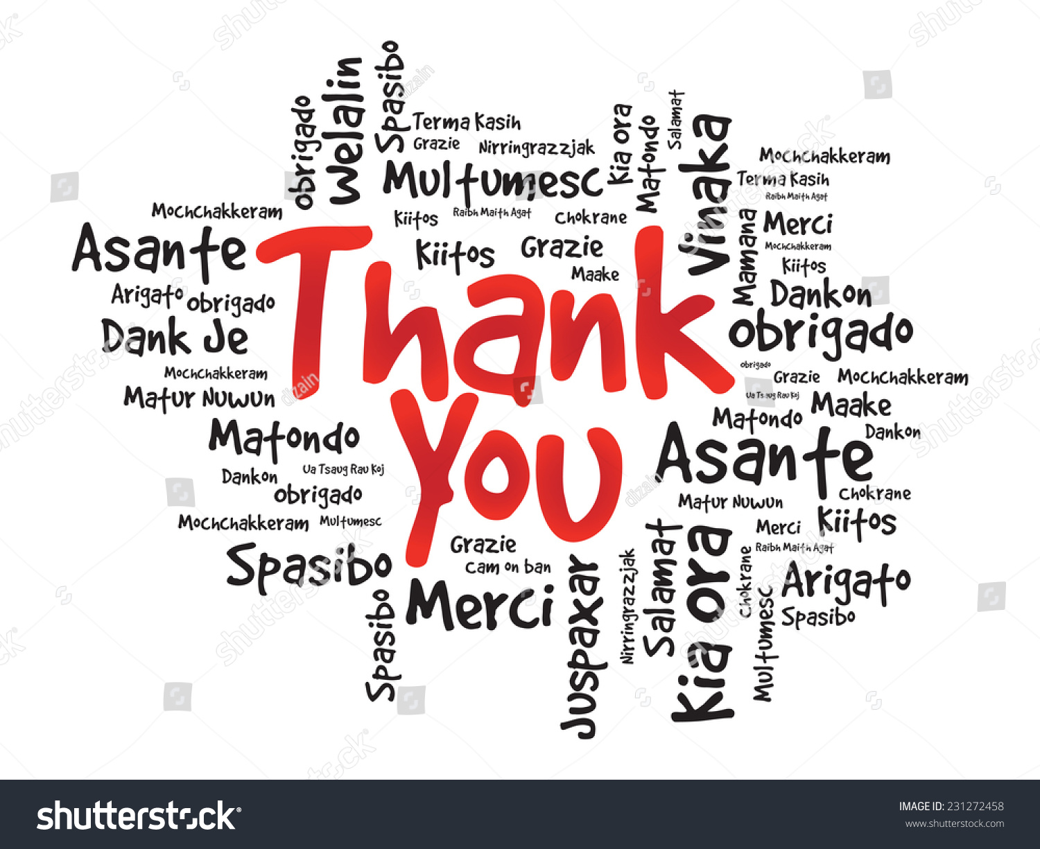 Thank You Word Cloud Different Languages Stock Vector 231272458 ...