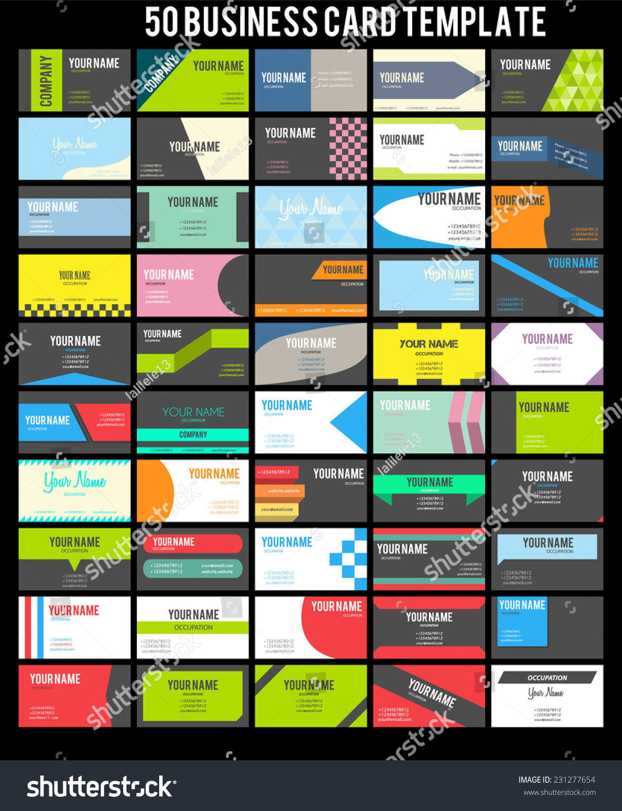 50 business card template collection stock vector 231277654 50 business card template collection magicingreecefo Gallery