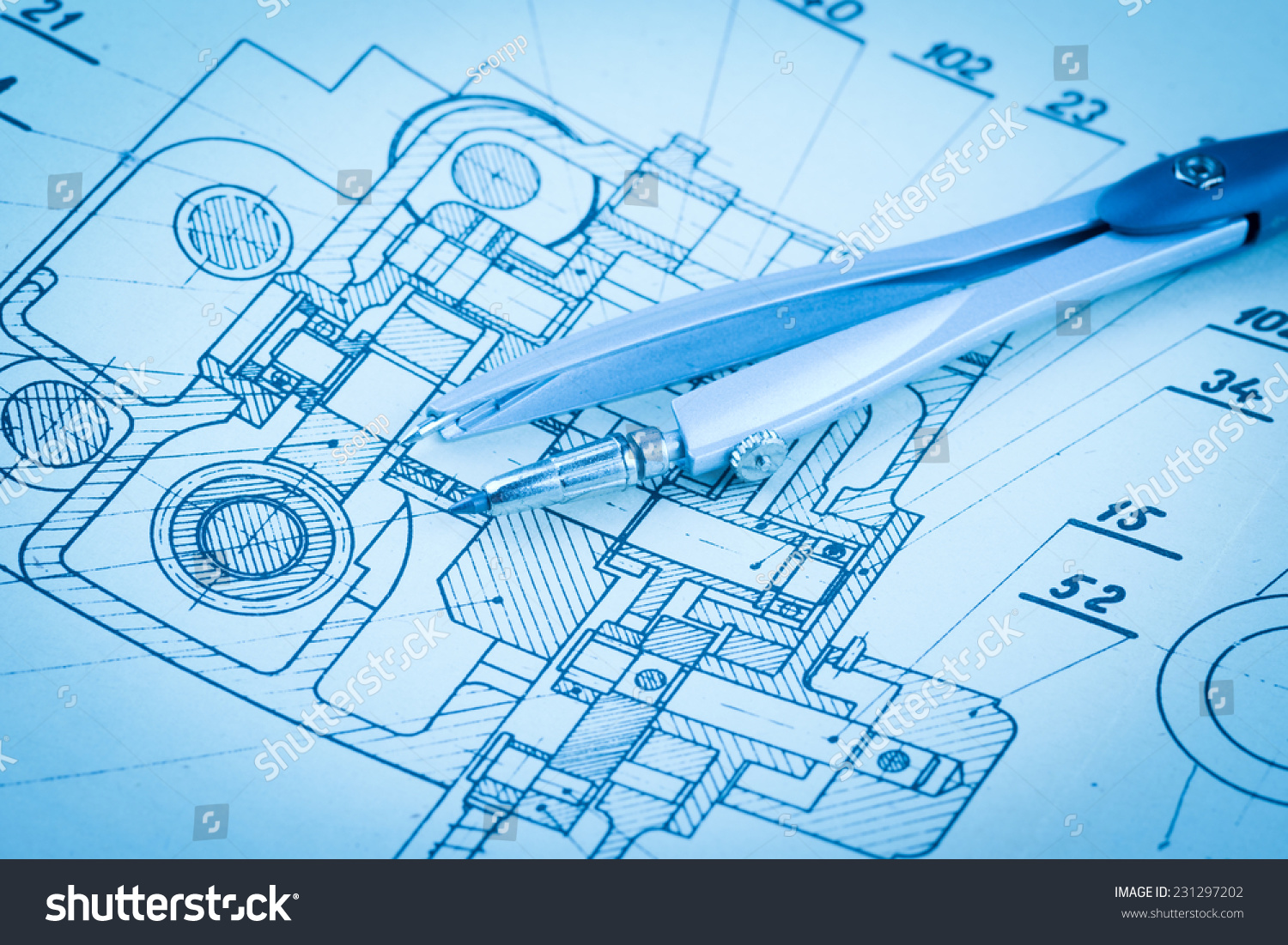 Industrial Drawing Detail Several Drawing Tools Stock Photo (Royalty ...