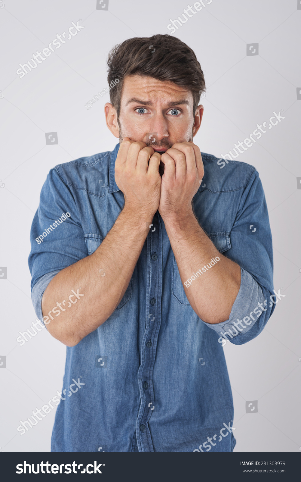 Man Biting Nails Fear Stock Photo & Image (Royalty-Free) 231303979 ...
