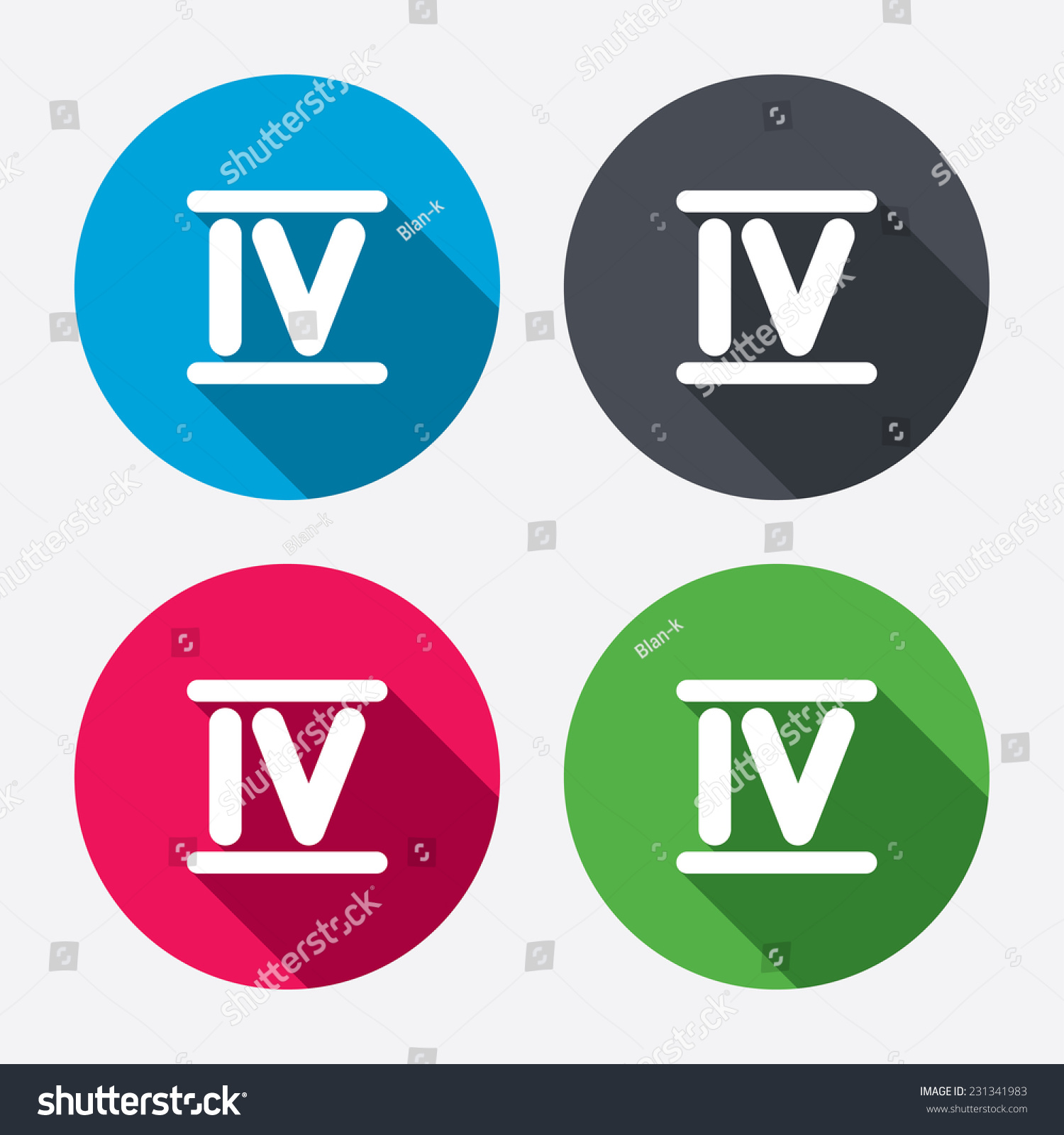 Worksheet Roman Numerals Four roman numeral four sign icon stock illustration 231341983 number symbol circle buttons with long shadow