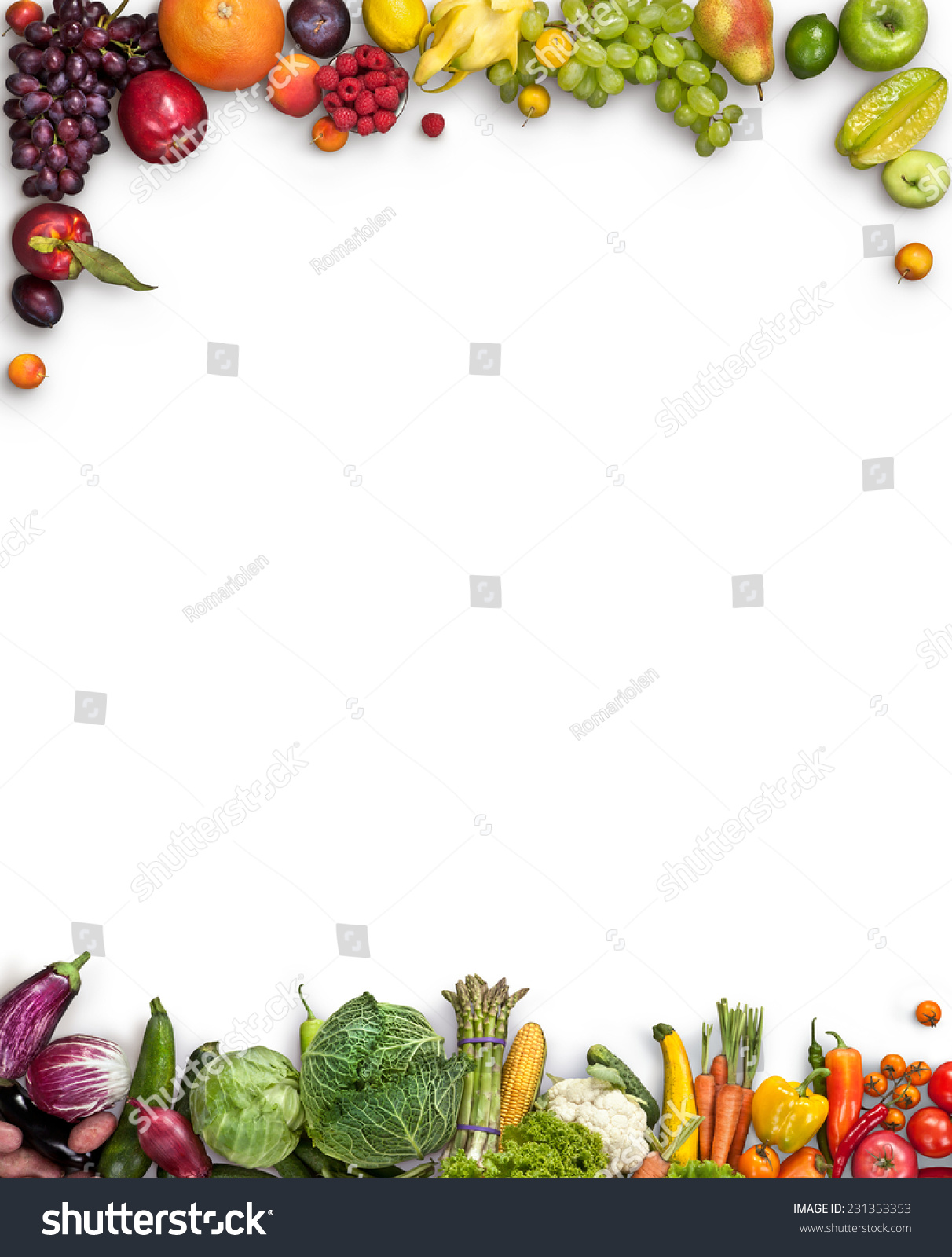Food background studio photo of different fruits and vegetables - Healthy Food Background Studio Photography Of Different Fruits And Vegetables On White Backdrop