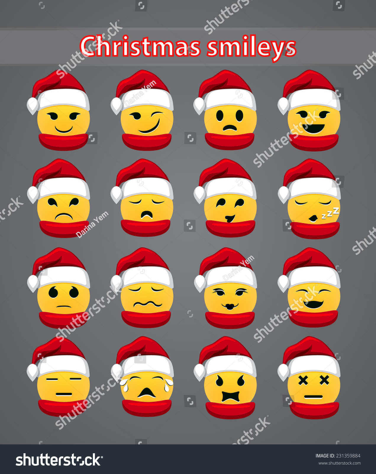 Set Celebratory Christmas Smileys Your Forum Stock Vector ...