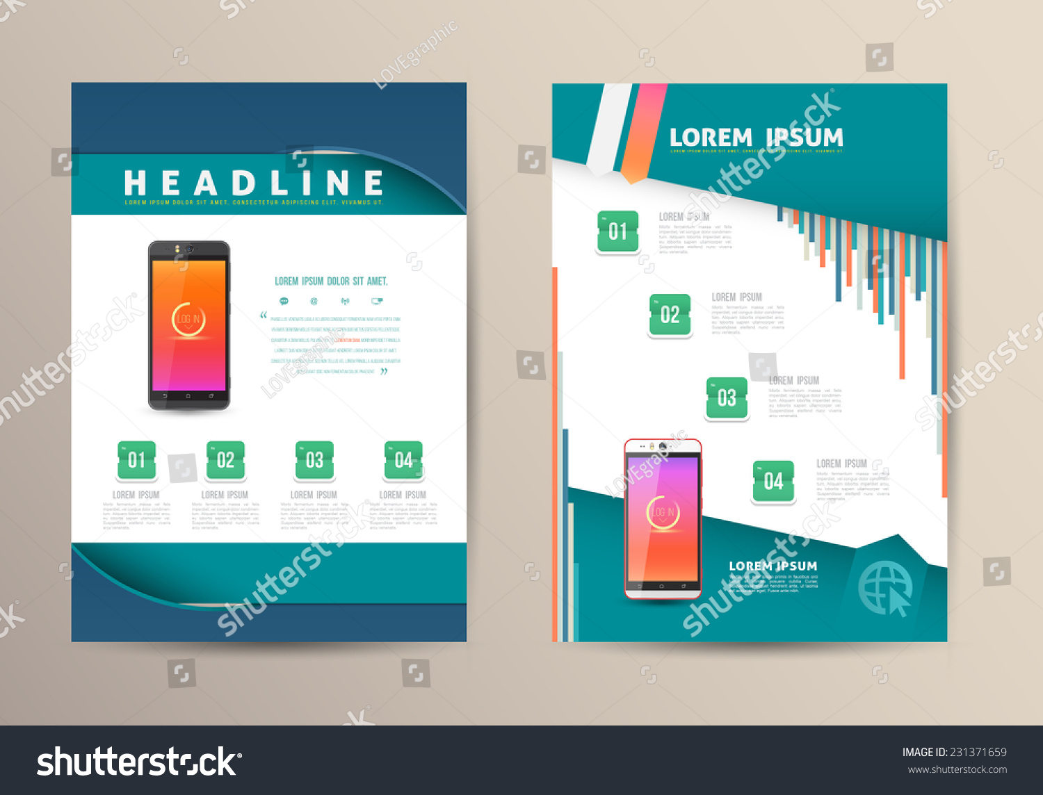 Brochure Flyer Design Vector Template Smartphone Stock