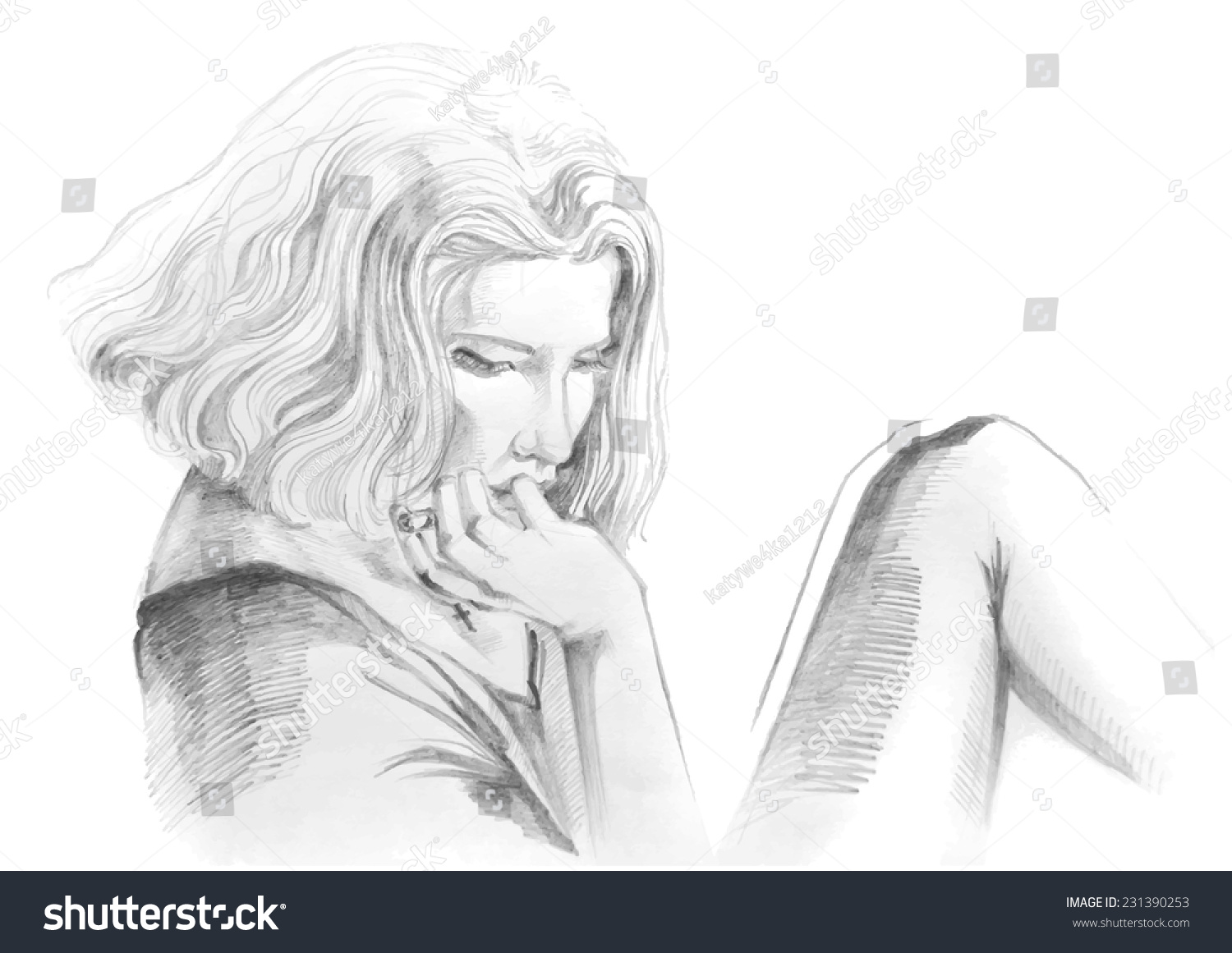 Hand drawn pencil sketch with portrait of a sad smoking girl female portrait