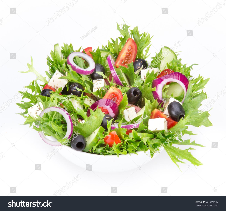 Fresh Tasty Salad Isolated On White Stock Photo 231391462