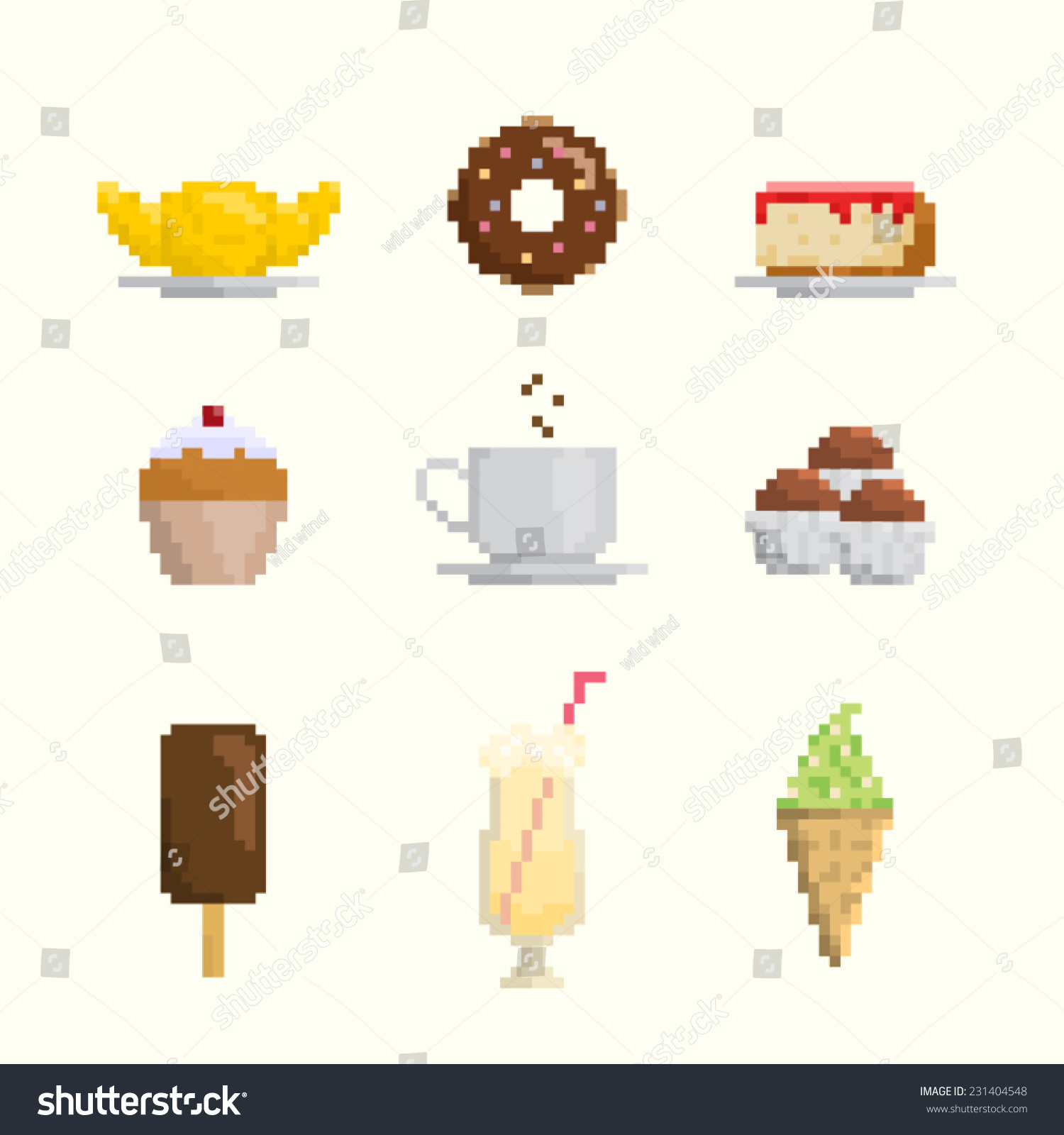 Dessert Sweets Icon Set Pixel Art Stock Vector Royalty Free