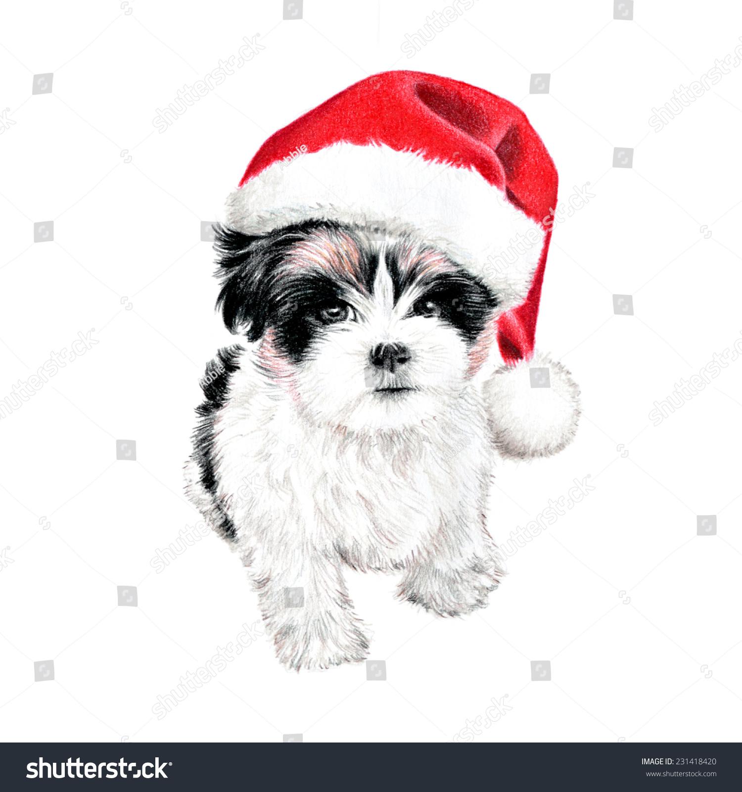 Hand Drawn Puppy Dog Santa Claus Stock Illustration 231418420 ...