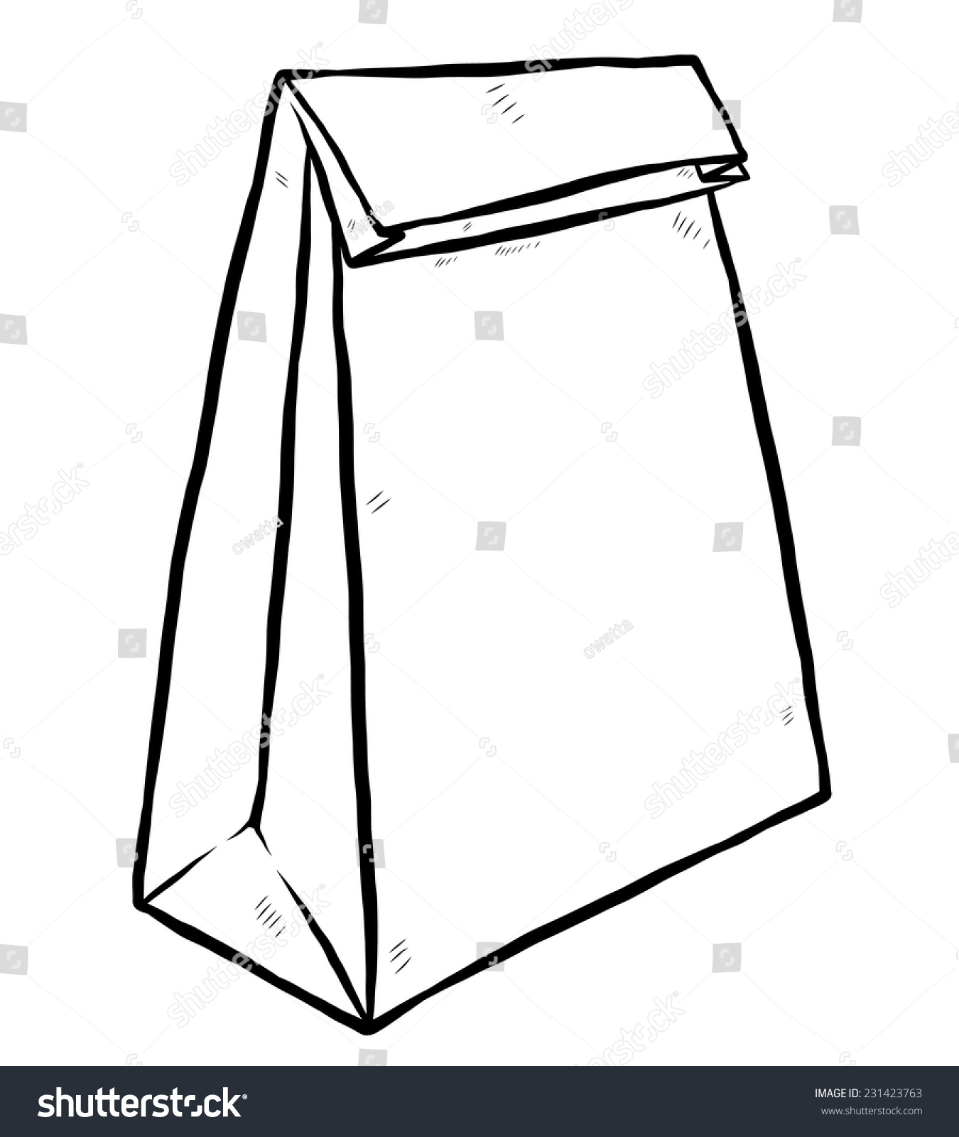 Paper bag sketch - Stock Vector Packaging Paper Bag Cartoon Vector And Illustration Black And White Hand Drawn Sketch Style