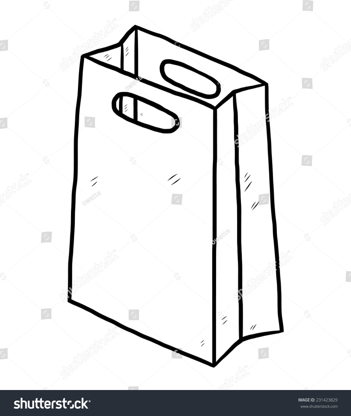 Paper bag sketch - Stock Vector Shopping Paper Bag Cartoon Vector And Illustration Black And White Hand Drawn Sketch Style