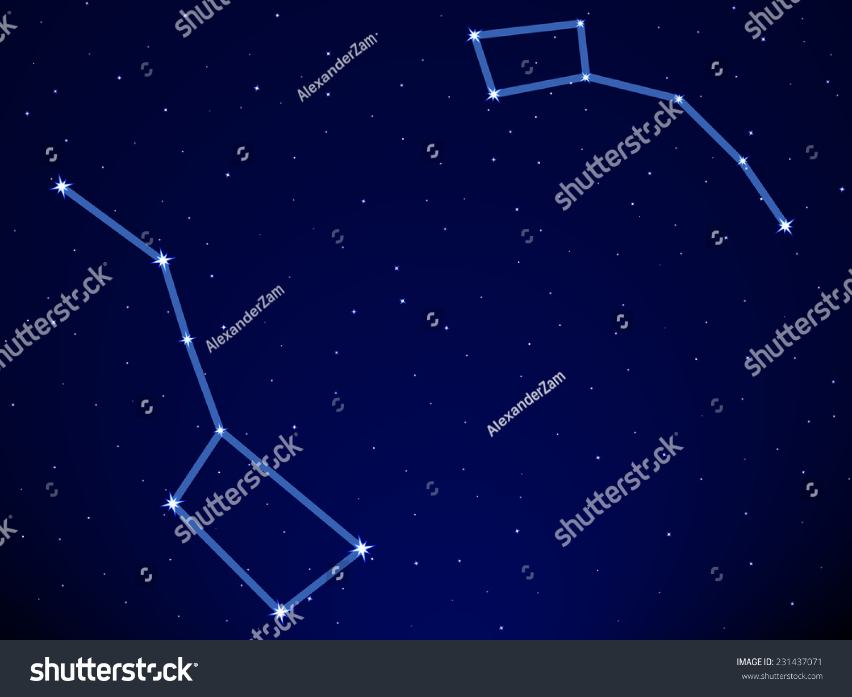 Illustration Big Dipper Little Dipper Constellation Stock ...