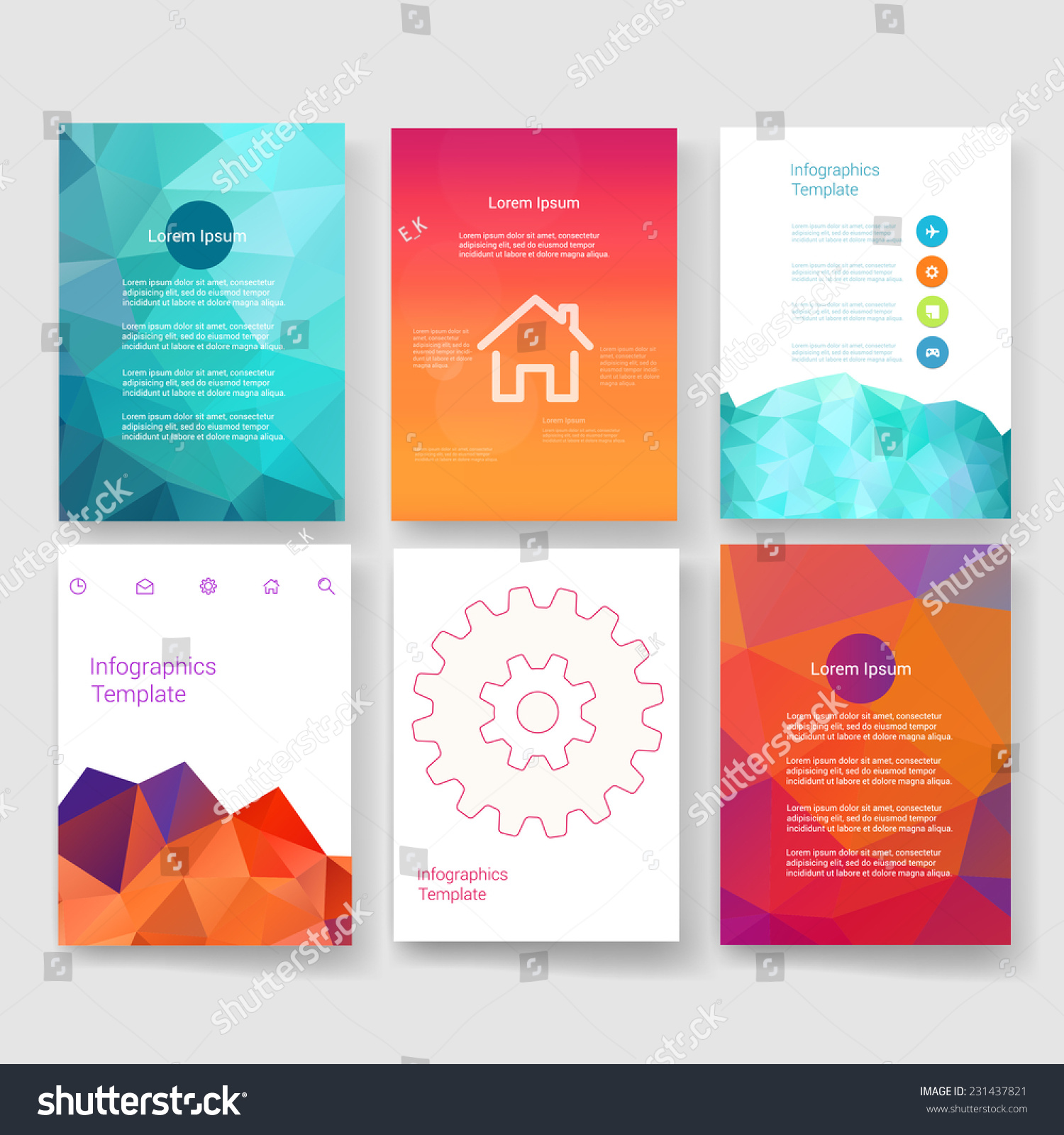 Flyer Brochure Design Templates Set Geometric Vector – Geometric Flyer Template
