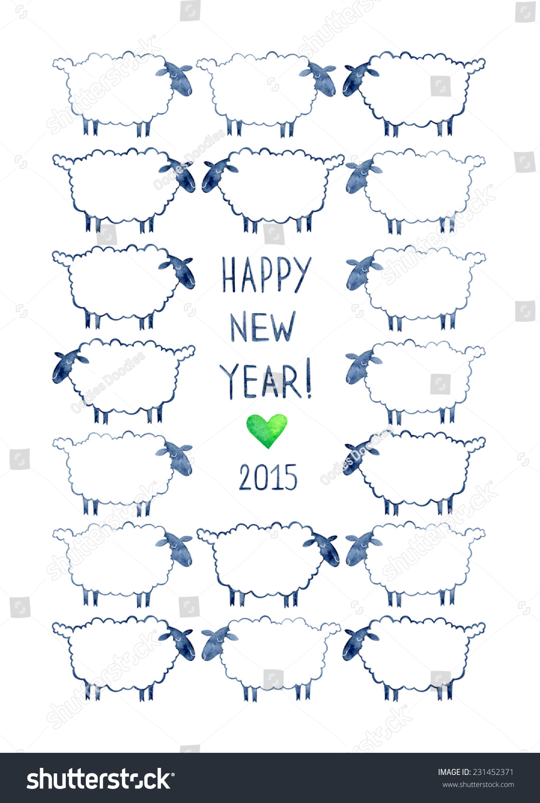 New year watercolor greeting card sheep stock illustration new year watercolor greeting card with sheep symbol of 2015 year greeting watercolor card kristyandbryce Image collections