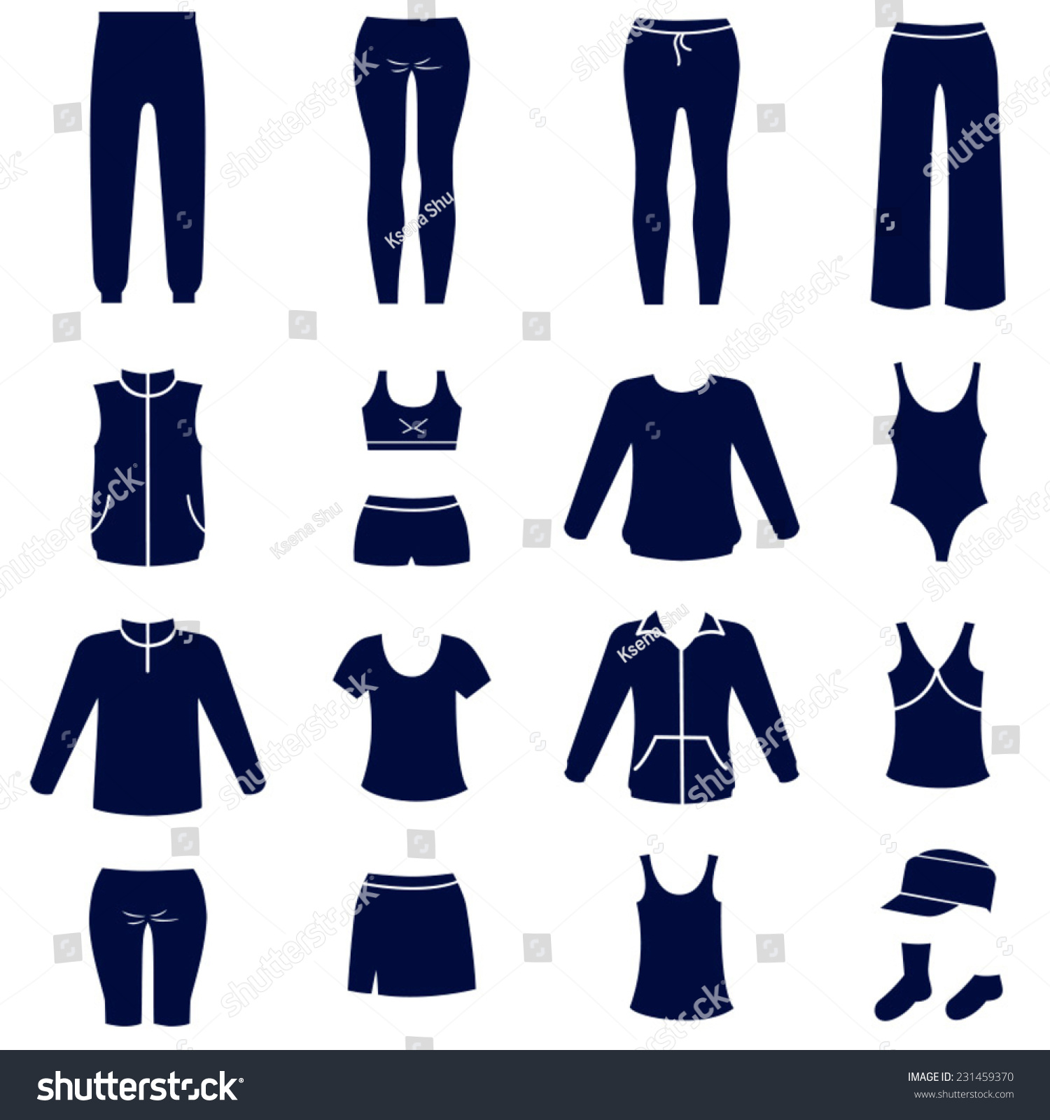 Different Types Women Sport Clothes Solid Stock Vector 231459370 Shutterstock
