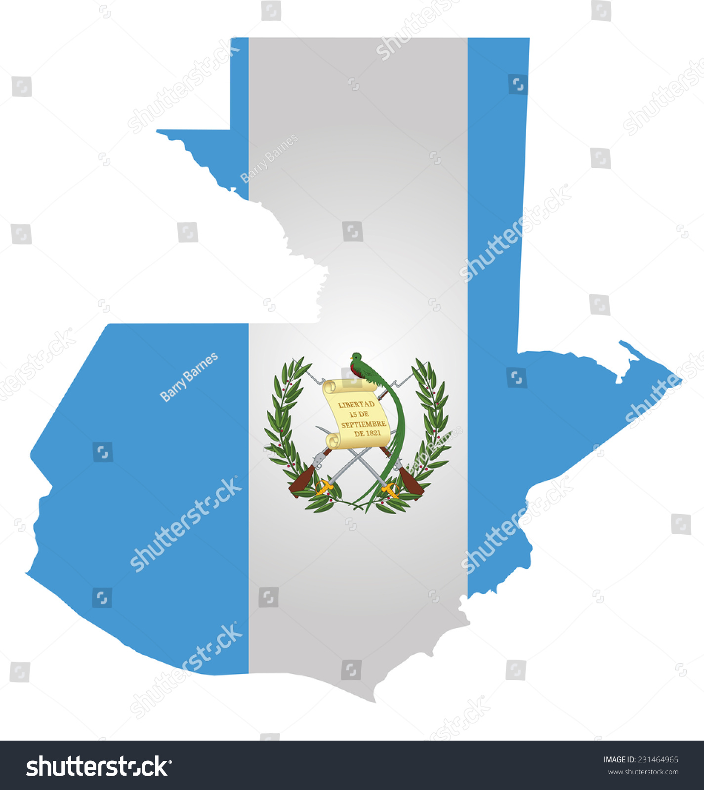 flag republic guatemala overlaid on outline stock vector