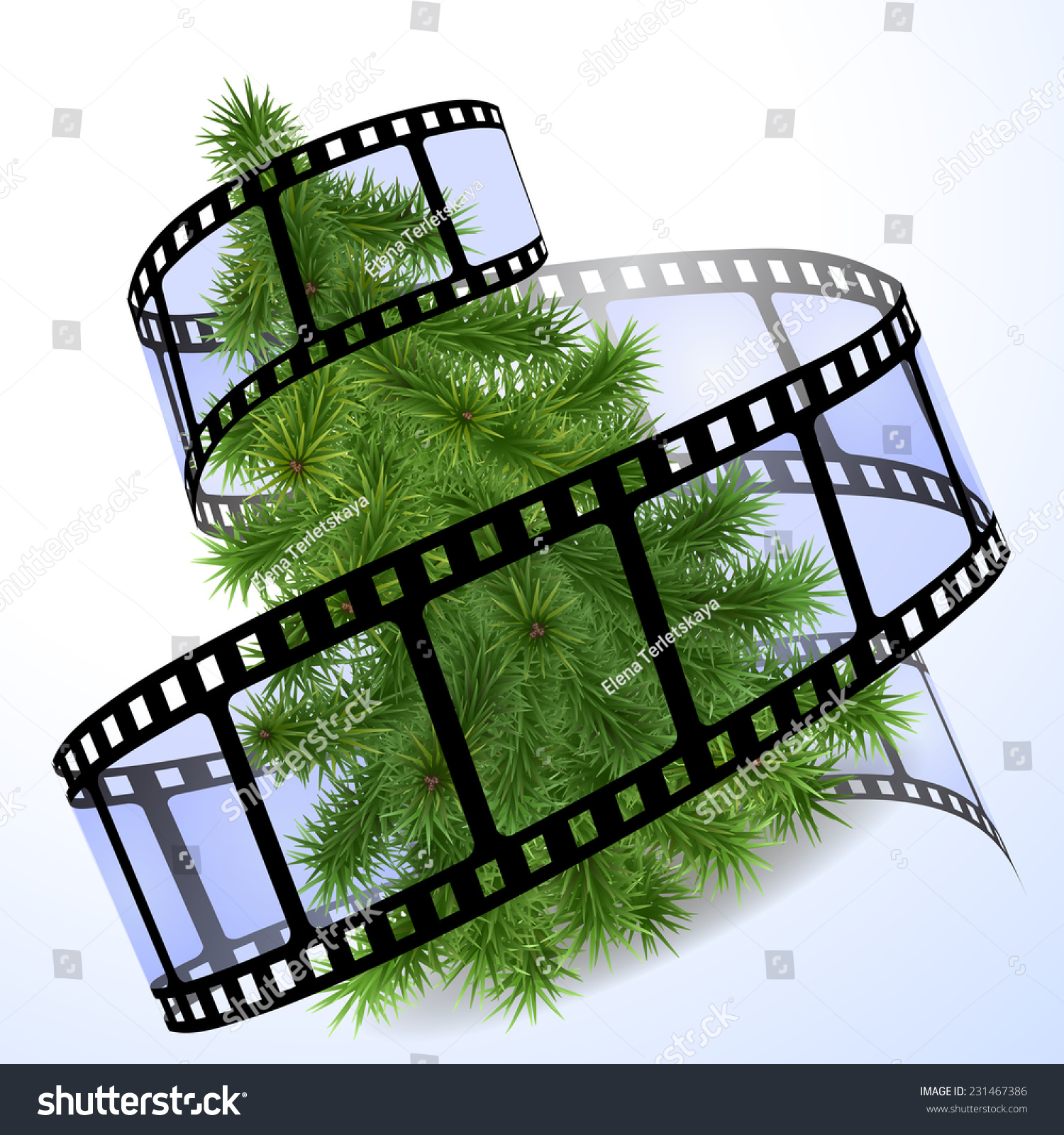 Christmas Tree Blue Film Strip Stock Vector Royalty Free 231467386