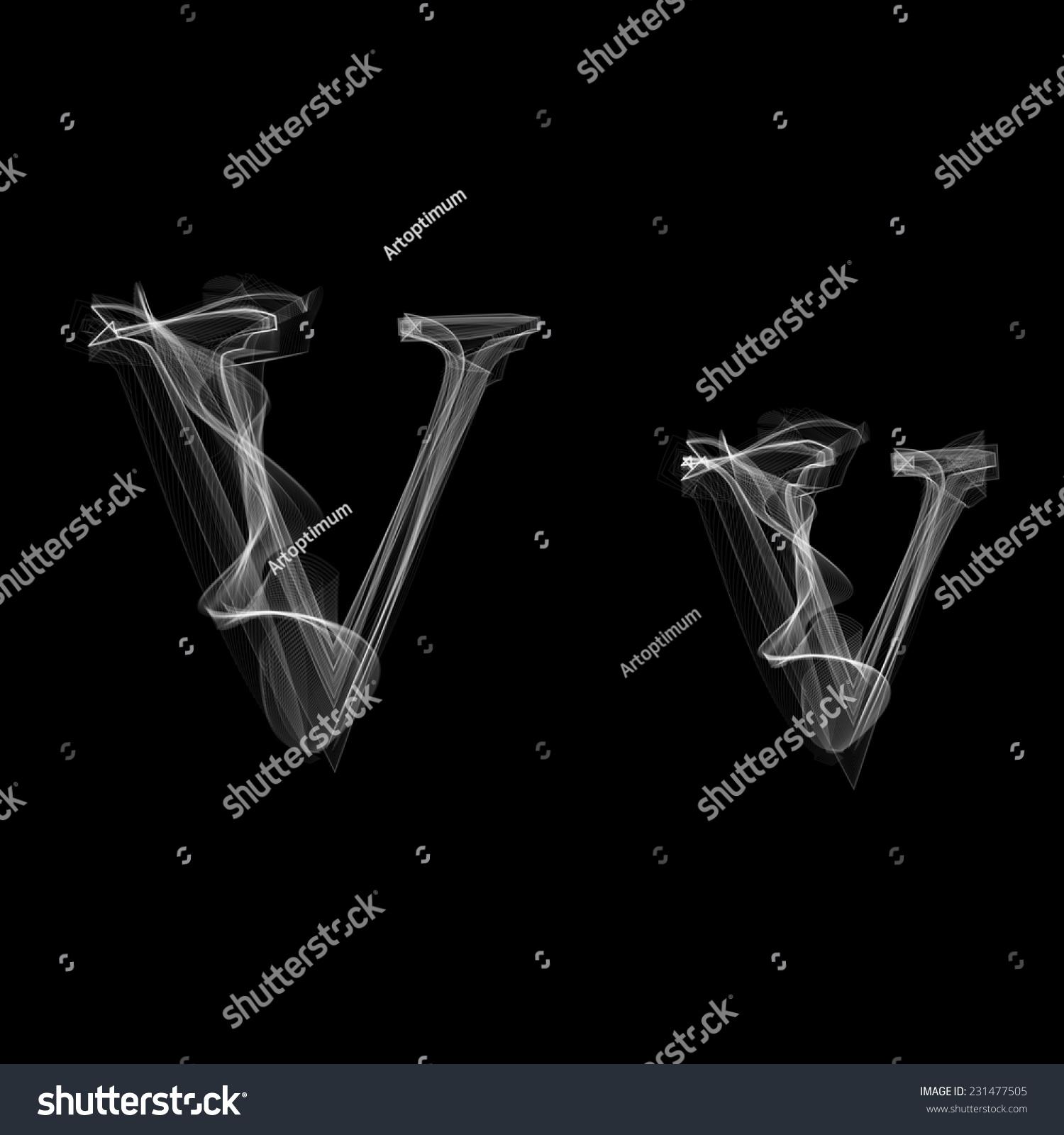 smoke font letter v vector illustration stock vector