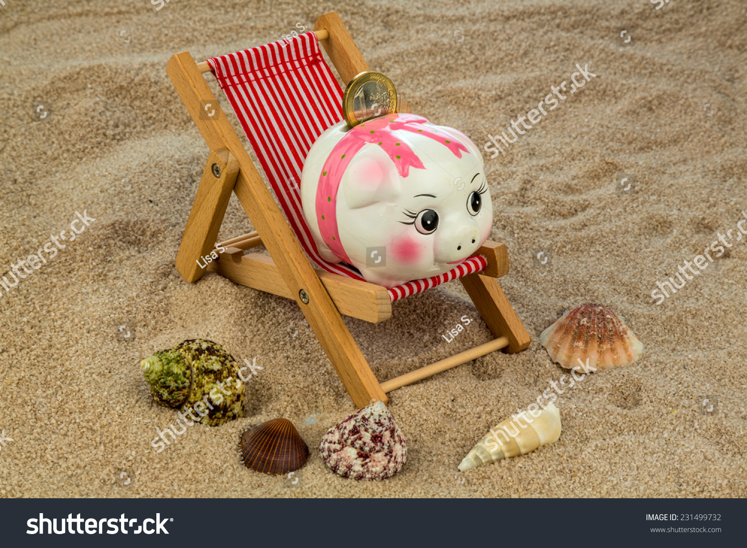 Deck chair euro currency on sandy stock photo 231499732 shutterstock deck chair with euro currency on the sandy beach symbol photo for costs in travel buycottarizona Choice Image