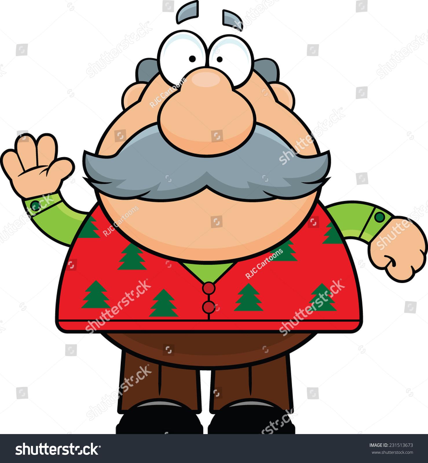 Cartoon Illustration Old Man Christmas Sweater Stock Vector (Royalty ...