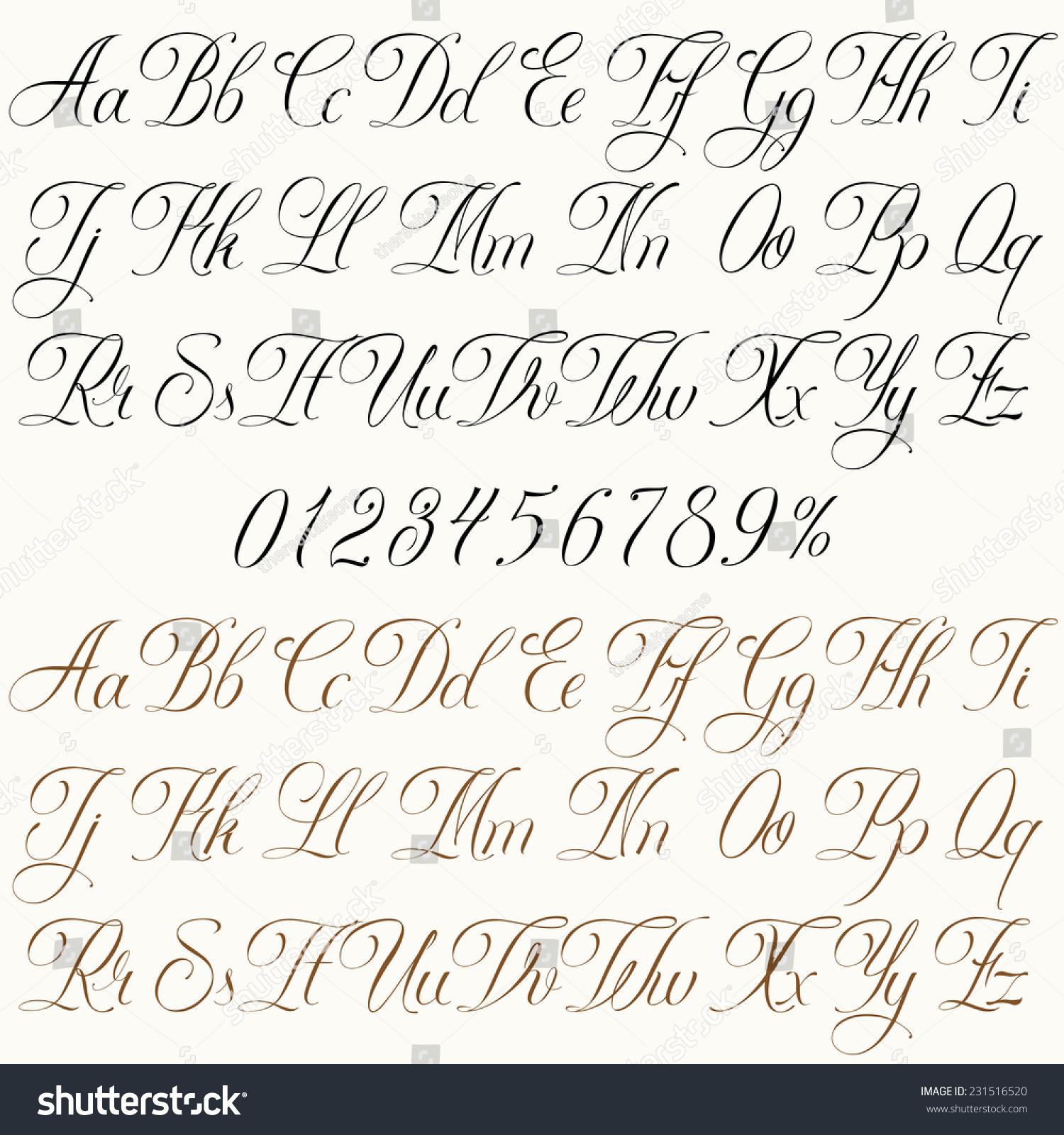 Handmade Vector Calligraphy Tattoo Alphabet Numbers Stock Vector 231516520 - Shutterstock