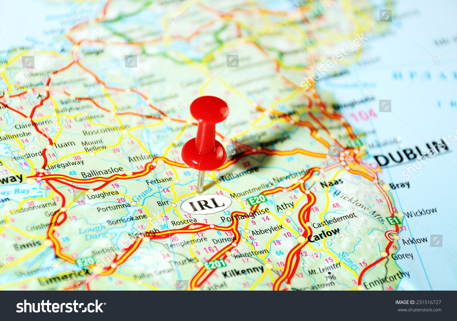 Ireland United Kingdom Map And Pin Travel Concept Photo – Travel Map of Ireland