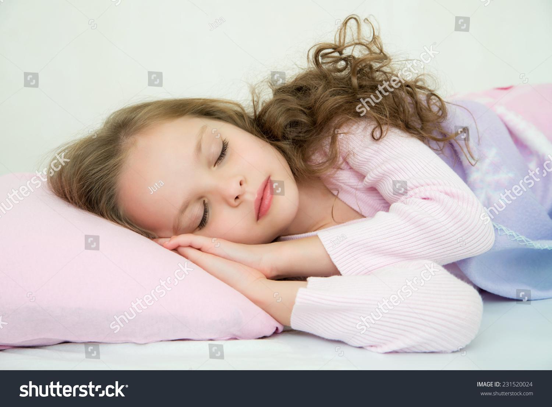 Adorable Little Girl Sleeping Her Bed Stock Photo Edit Now