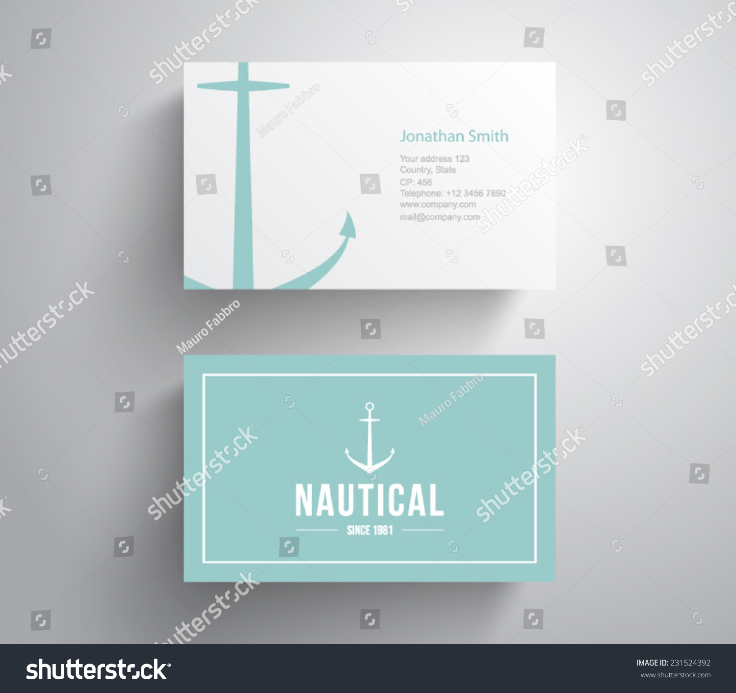 Business Card Retro Vintage Logo Marine Stock Vector 231524392 ...
