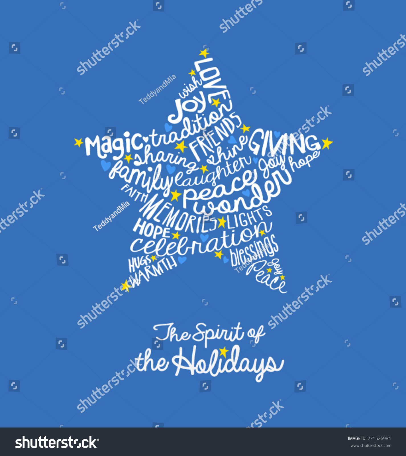 Handwritten Christmas Star Card Word Cloud Stock Vector 231526984