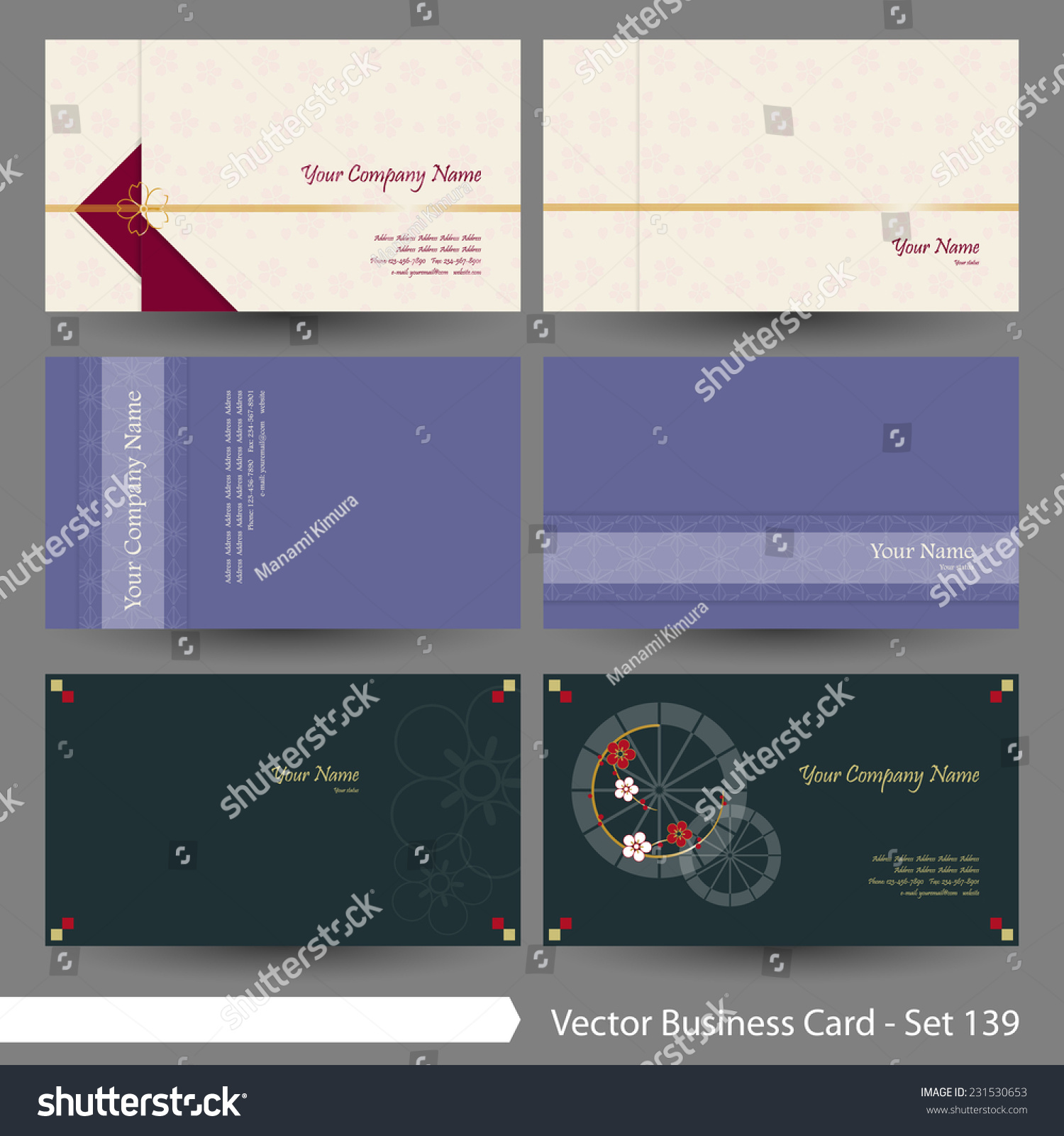 Vector Business Card Template Set Japanese Stock Vector 231530653 ...