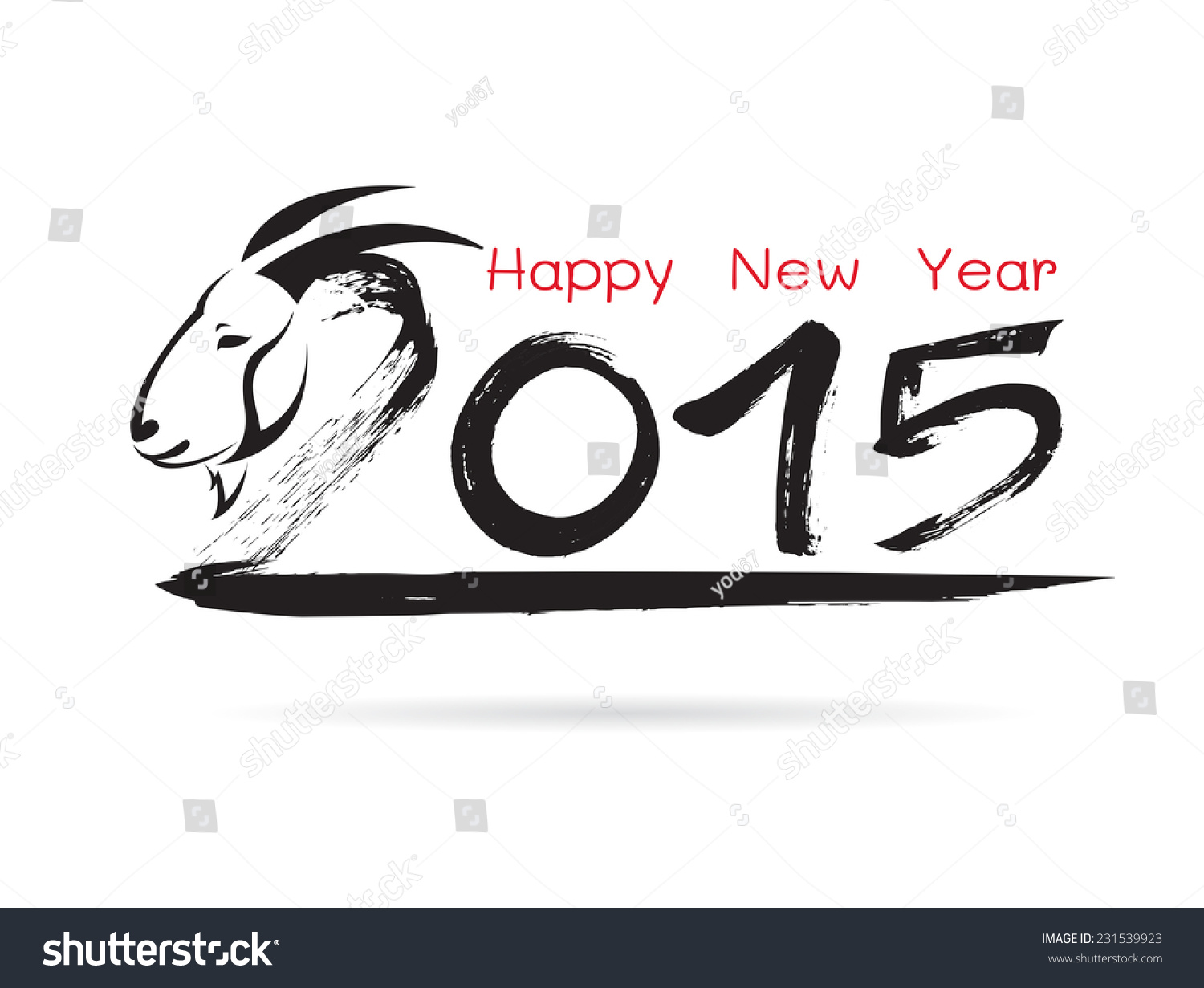 Calligraphy vector 2015 new year sign stock vector Calligraphy and sign
