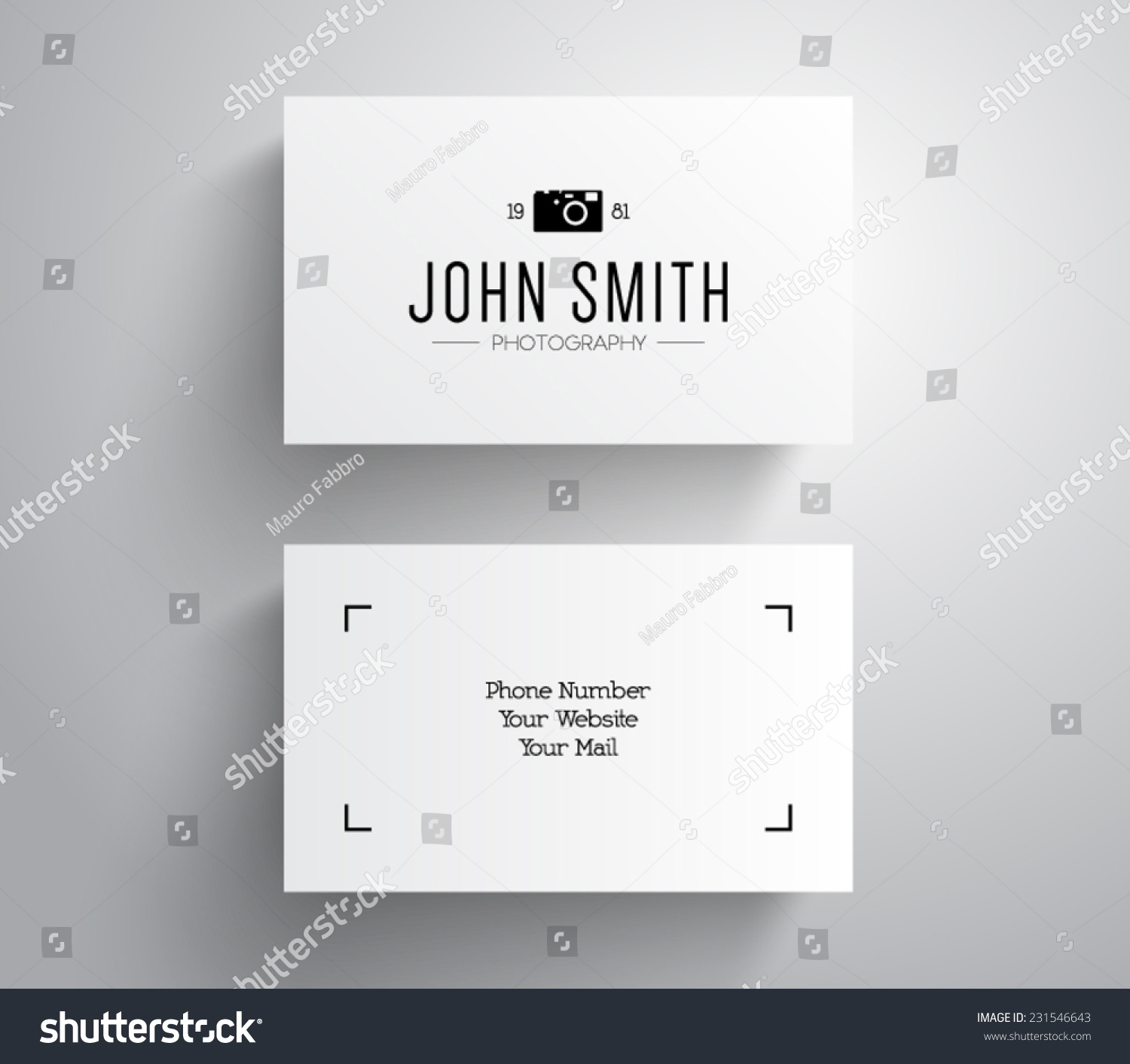 Vector Photographer Photography Business Card Template Stock - Photography business card template