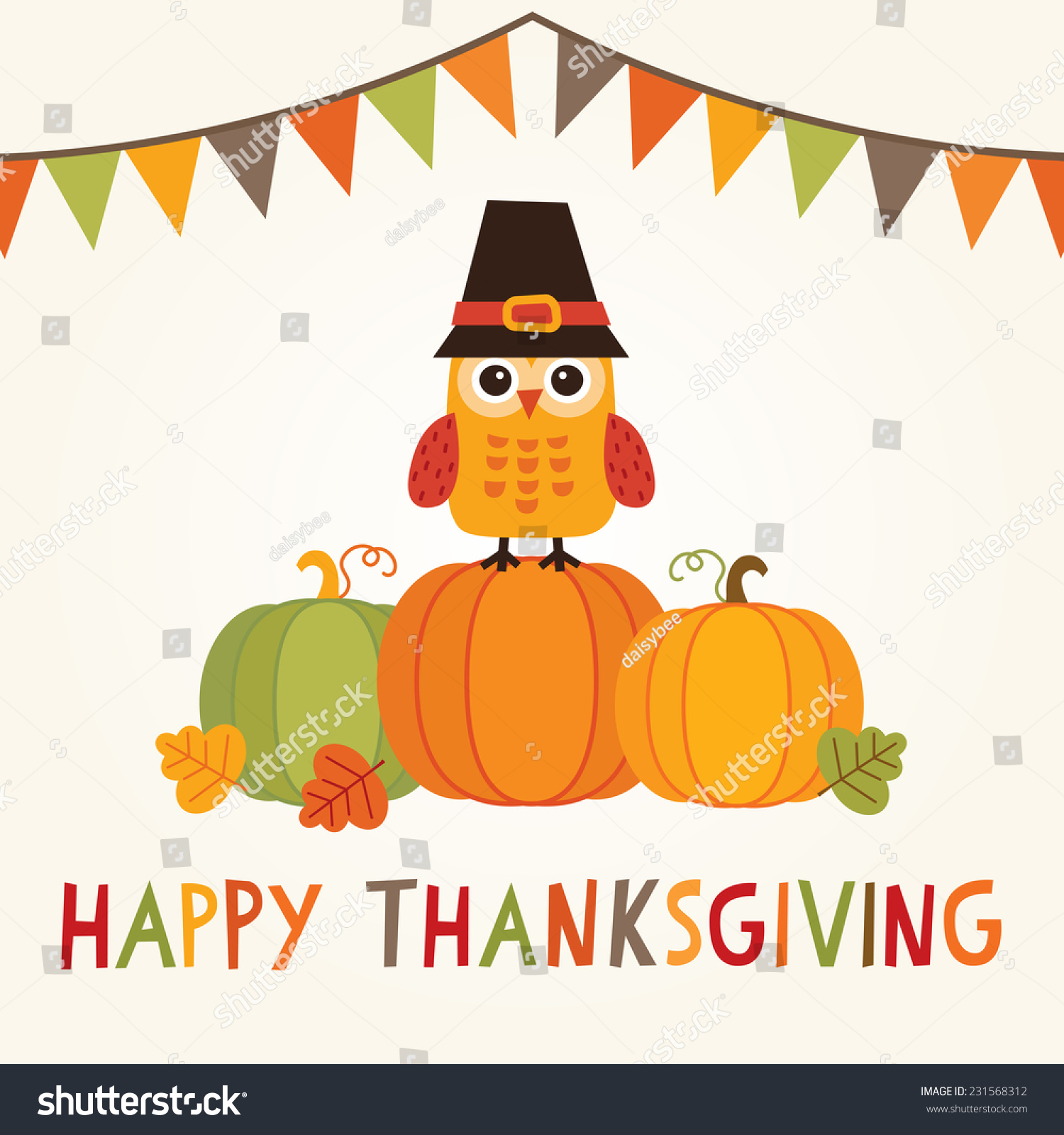 Vector bunting flags lovely celebration card with colorful paper - Happy Thanksgiving Day Card Poster Or Menu Design With Bunting Flags And Cute Owl In