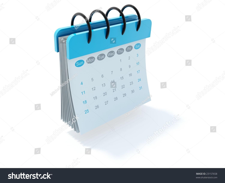 Blue Calendar Icon Isolated On White Stock Photo 23157658