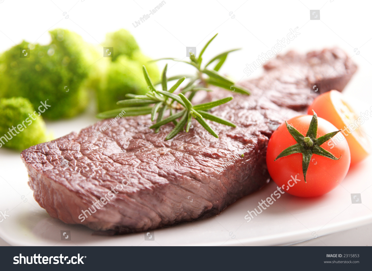 Tender Beef Fillet Steak, With Rosemary, Baby Tomatos And Broccoli ...
