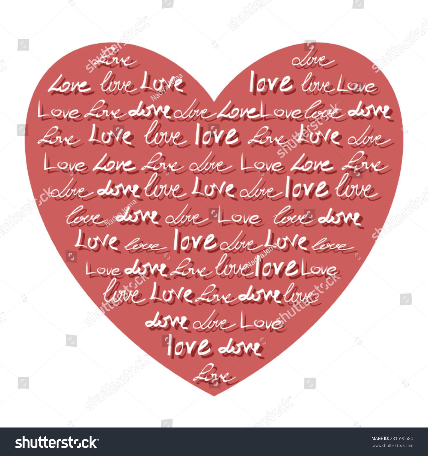 Vector Heart Made Words Love Romantic Calligraphy Stock Vector ...