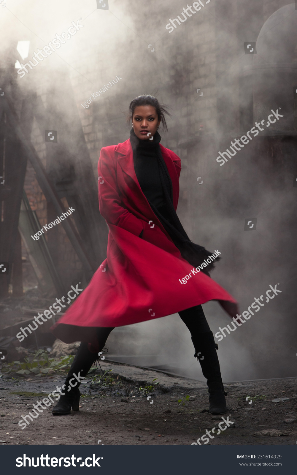 Woman Red Coat Stock Photo 231614929 - Shutterstock
