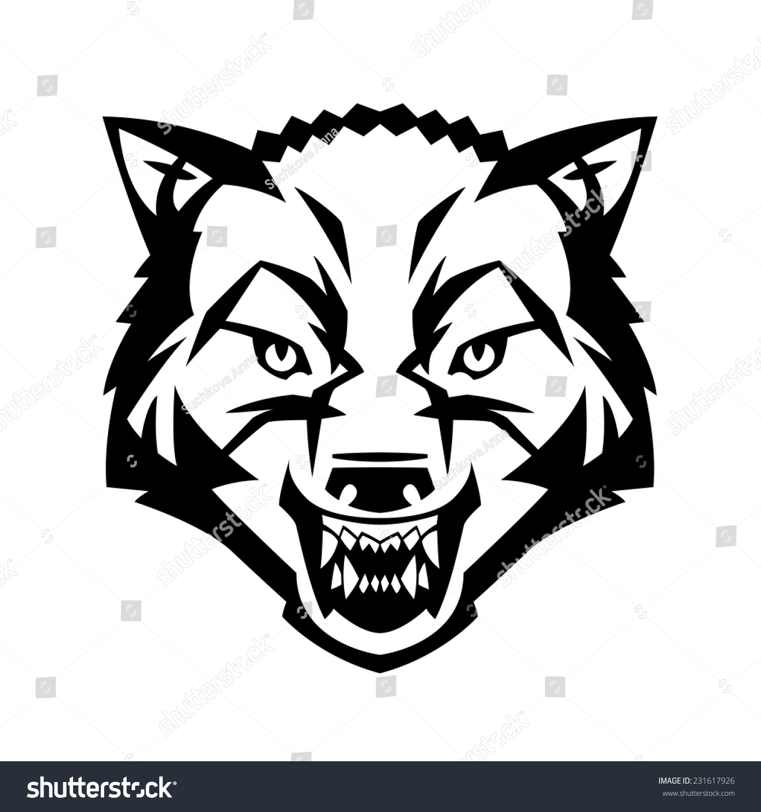 wolfs head showing teeth harsh beast stock vector  wolf s head showing teeth harsh beast hunter forest vector can be used as a tattoo or
