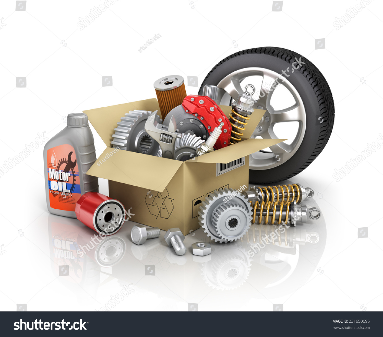 Auto Parts Cardbox Automotive Basket Shop Stock