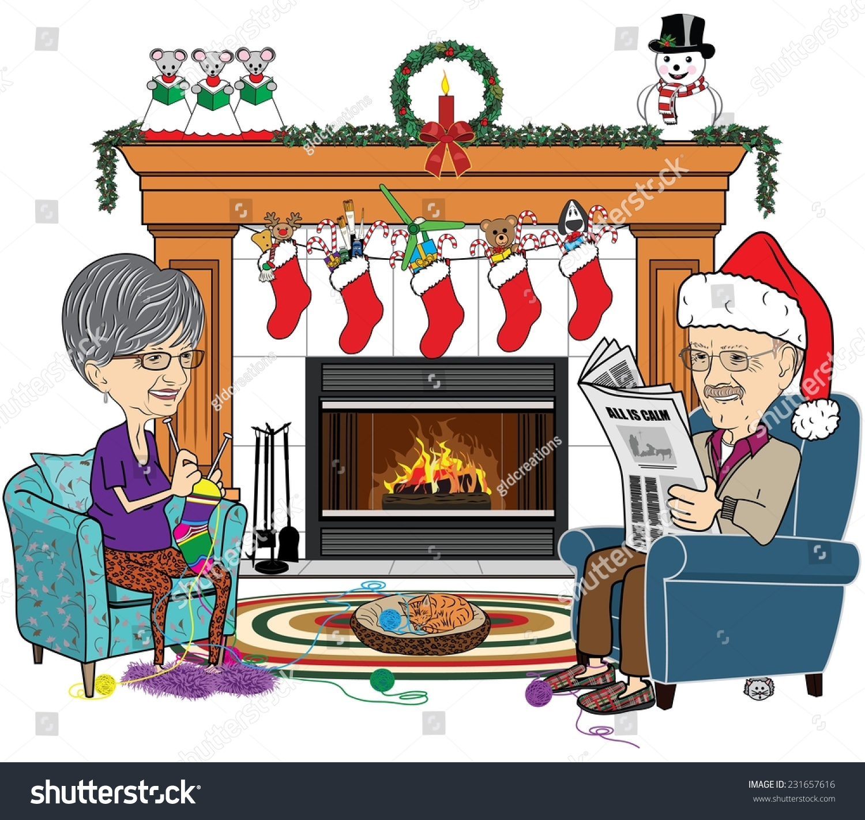 cartoon vector illustration senior couple sitting stock vector