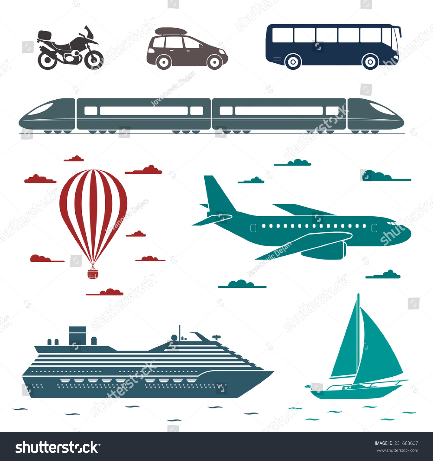 Various Types Transport Car Bus Train Stock Vector 231663607 - Shutterstock