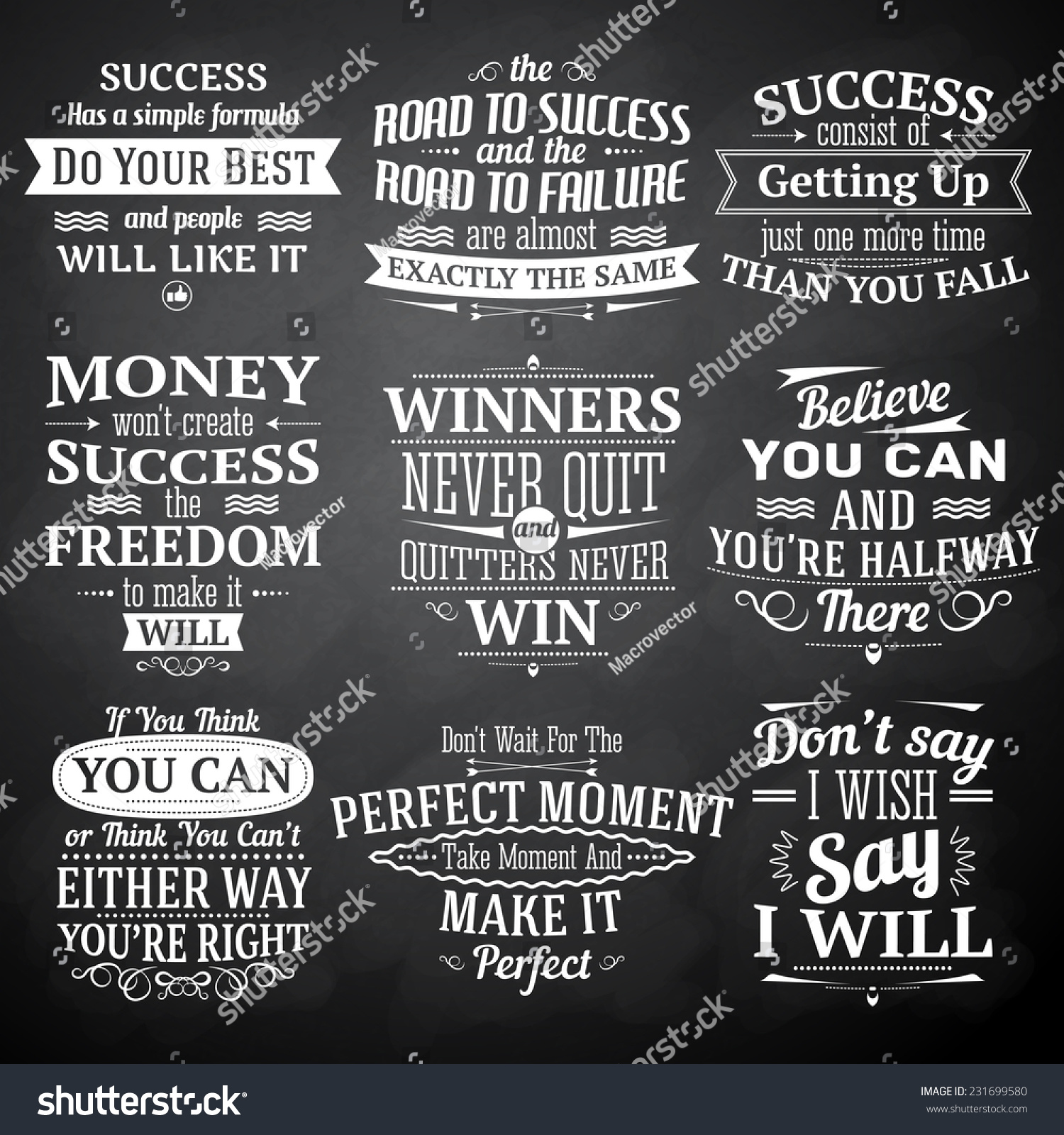 Road To Success Quotes Success Motivational Inspirational Quotes Chalkboard Emblems Stock